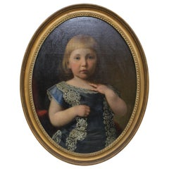 Antique Framed Victorian Oval Portrait Painting of a Young Girl