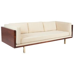 Rosewood Case Sofa on Brass Legs by Milo Baughman