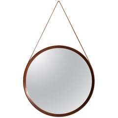 Round Mirror in Leather and Teak by Glas & Trä Hovmantorp in Sweden
