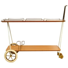 Beautiful Mid-Century Modern Trolley with Plywood Trays and Brass Frame