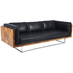 Burl Wood and Leather Case Sofa on Chrome Frame by Milo Baughman