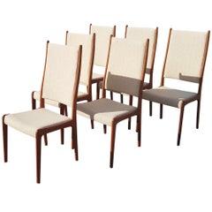 Set of Six Teak Highback Dining Chairs by J. Andersen, 1960, Denmark
