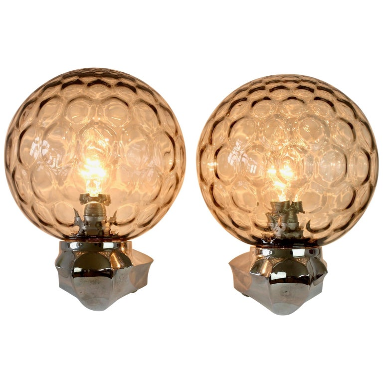 Pair of 1970s Art Deco Style Vintage Bubble Glass Wall Lights or Vanity Sconces For Sale