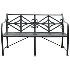 Regency Style English Wrought Iron Bench