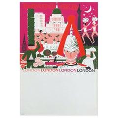 1960s London British Travel Poster by Daphne Padden, Pop Art Illustration Design