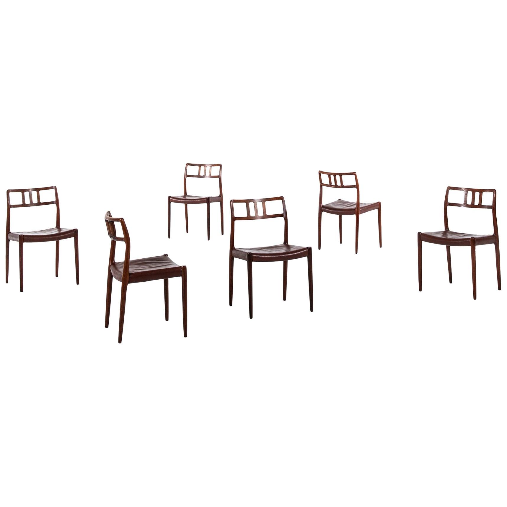Niels O. Møller Dining Chairs Model 79 by J.L. Møllers Møbelfabrik in Denmark