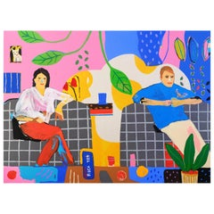 'Fresh Biscuits' Portrait Painting by Alan Fears Couple Pop Art