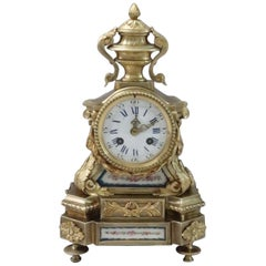 French Bronze Gilt Mantel Clock with Porcelain Panels