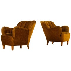 Pair of Easy Chairs Attributed to Otto Schulz and Produced in Sweden