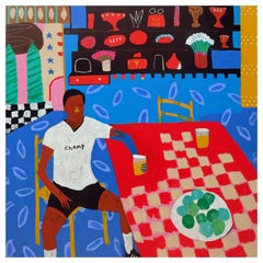 'Small Rewards' Portrait Painting by Alan Fears Football Sportsman Pop Art