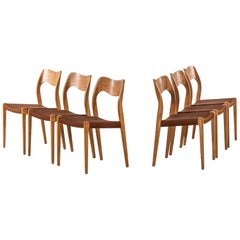 Niels O. Møller Dining Chairs Model 71 by J.L. Møllers Møbelfabrik in Denmark