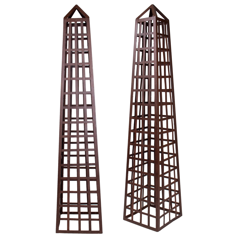 Pair of Iron Garden Obelisks