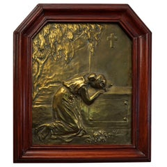 Art Nouveau Bronze or Bronzed Wall Plaque of Lady Mourning by a Grave circa 1900