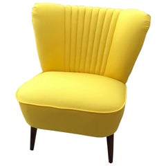 1950s Cocktail Chair Yellow Fabric