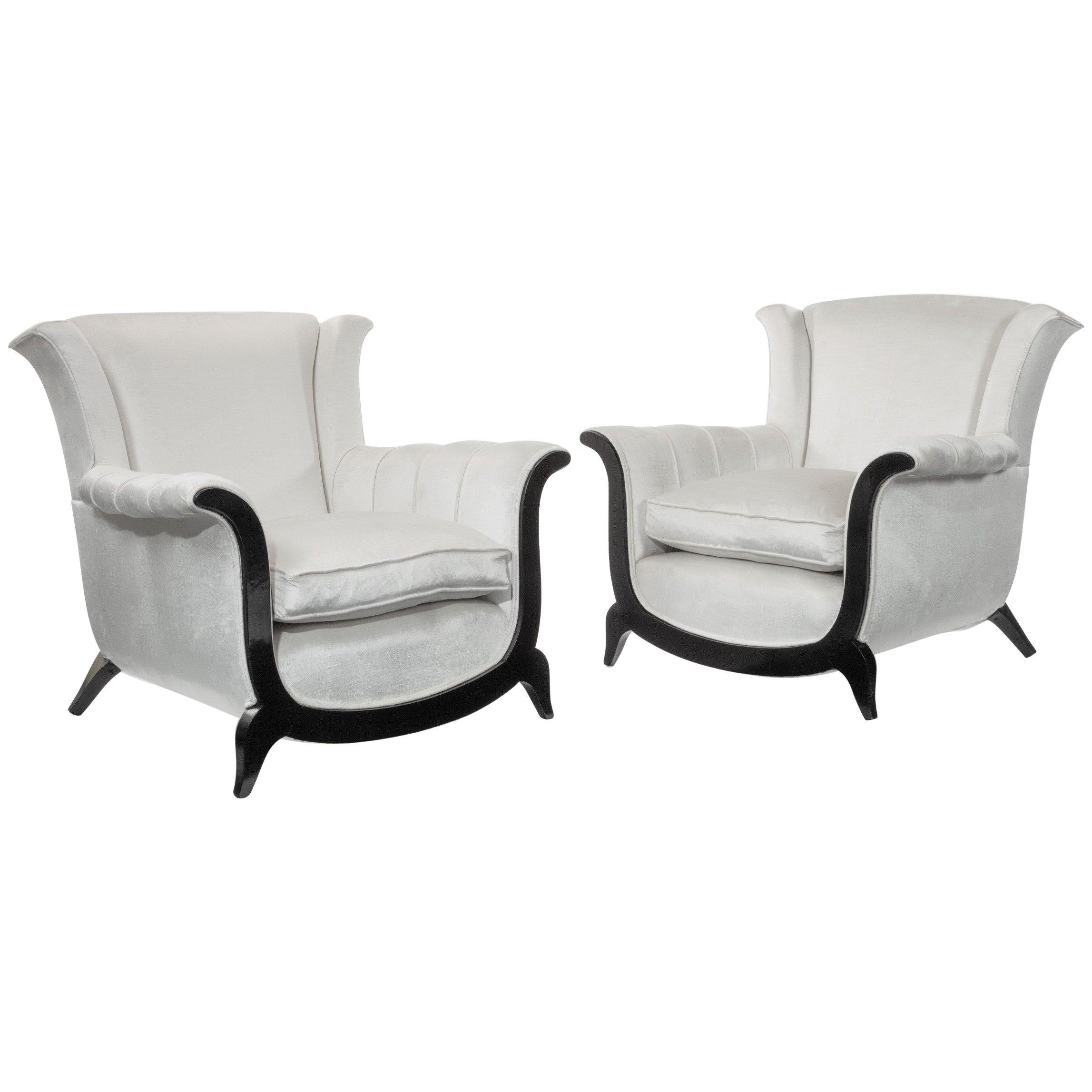 Unusual Pair of Mid-20th Century Armchairs in a Crushed Velvet
