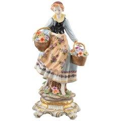 """Young Florist Lady"", Porcelain, After Models from Sèvres 'France'"