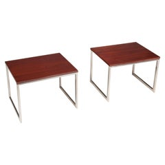 Pair of 1970s Teak and Chrome Side Tables
