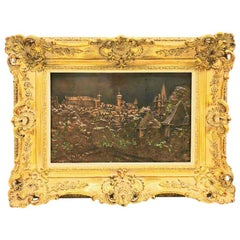 Giltwood Framed Copper Plate Nuremberg City View Vintage, 1920s
