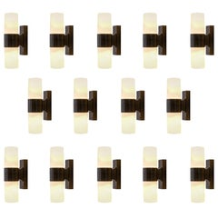 Set of Fourteen Cylindrical Wall Sconces in Opaline Glass and Bakelite