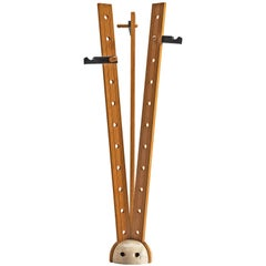 Italian Oak and Travertine Free Standing Coat Stand