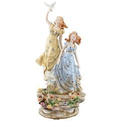 """Ladies and Pigeons"" Porcelain, After Models from Sèvres, France"