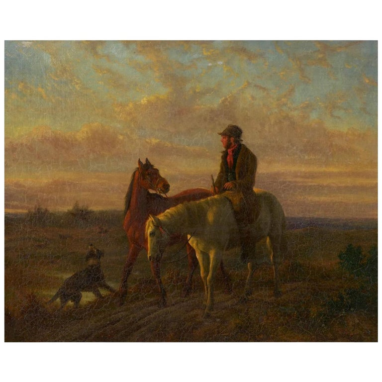 19th Century Antique Equestrian Oil Landscape Painting of Figure with Horses For Sale