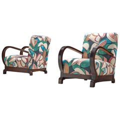 Pair of Art Deco Chairs Reupholstered with a Floral Dedar Fabric