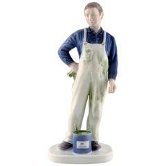Rare Bing & Grondahl or B&G Porcelain Figure, Painter