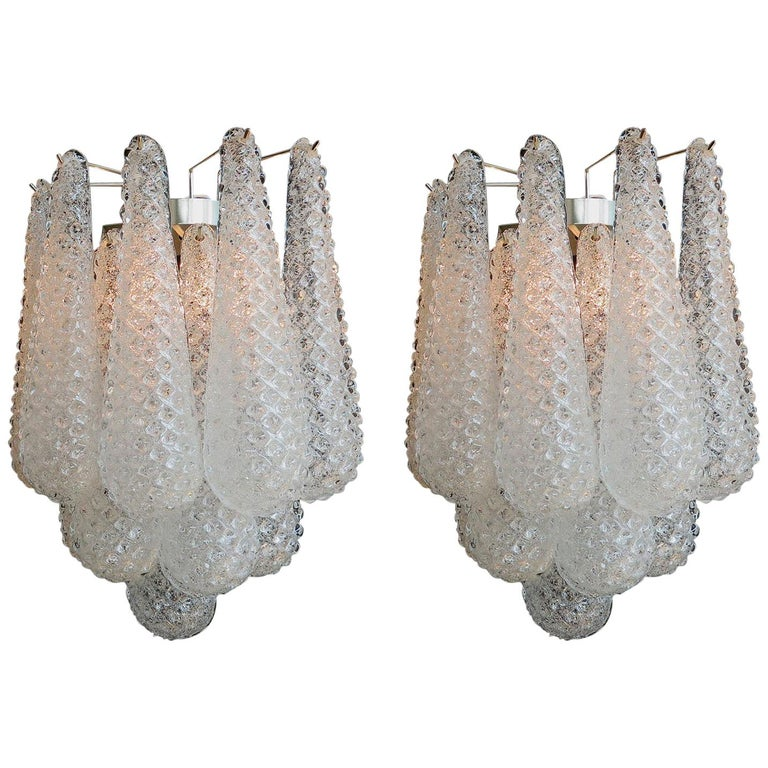 Pair of Italian Wall Sconces, Murano, 1970s For Sale