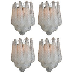 Set of Four Italian Wall Sconces, Murano, 1970s