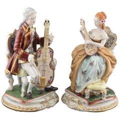 """String Duet"", Pair of Porcelain Figurines, After Models from Sèvres 'France'"