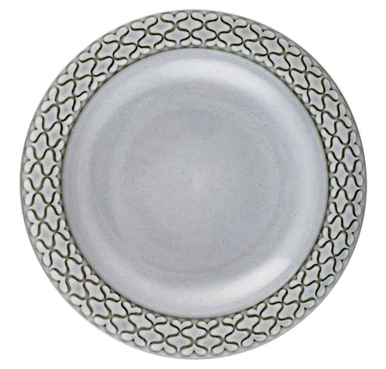 Bing & Grondahl Number 322, Set of 7 Deep Plates, B & G Grey Cordial Quistgaard For Sale