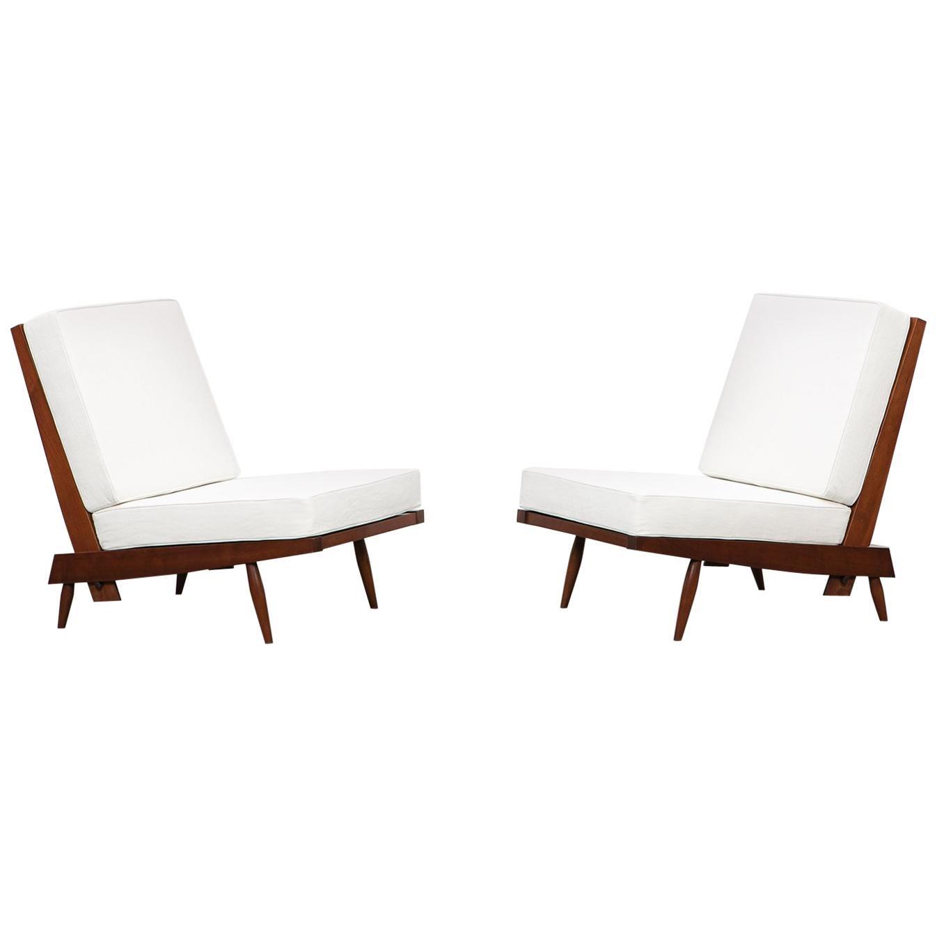 1960s Walnut Lounge Chairs by George Nakashima