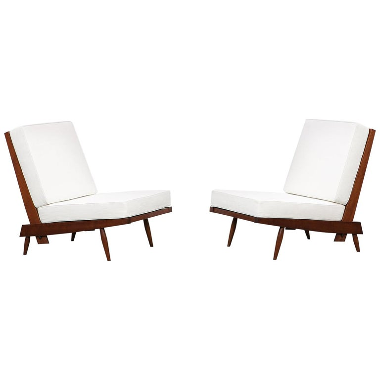 1960s Walnut Lounge Chairs by George Nakashima For Sale
