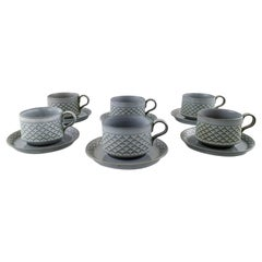 Bing & Grondahl Number 305, Set of Six Tea Cups with Saucers, B & G Grey Cordial