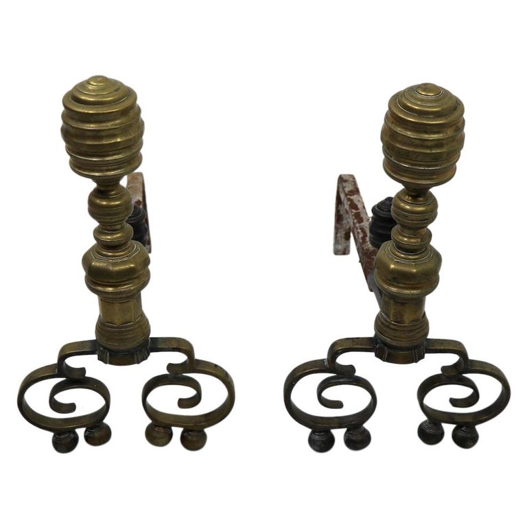 Pair of Chippendale Revival Andirons with Beehive Tops For Sale