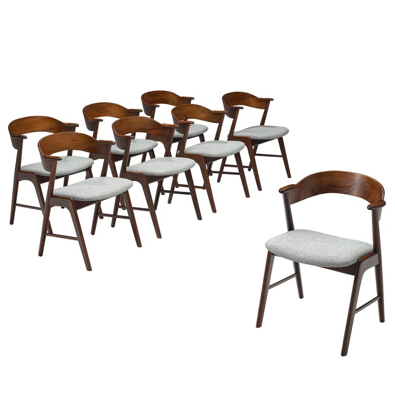 Kai Kristiansen Set of Eight Reupholstered Rosewood Dining Chairs For Sale