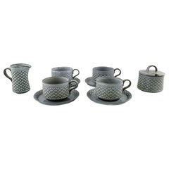 Bing & Grondahl Number 305, Set of 4 Tea Cups with Saucers, a Jug and Sugar Bowl