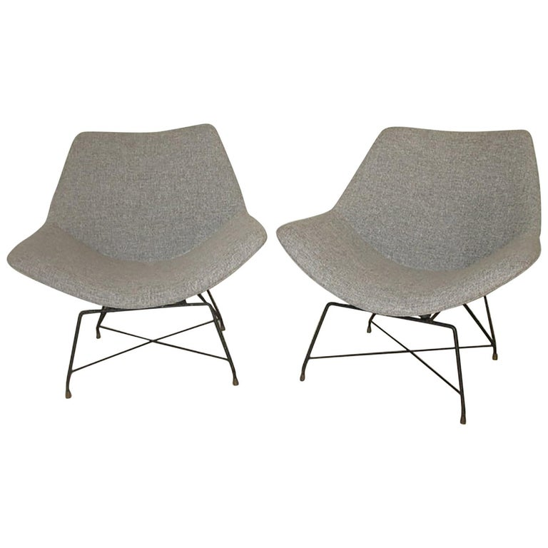 Augusto Bozzi Couple of Armchair for Saporiti, Italy, 1950s For Sale