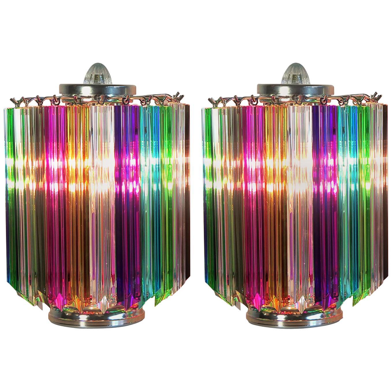 Pair Multi-color Quadriedri Table Lamp, Murano, 1990s