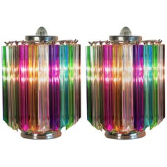 Pair Multi-color Quadriedri Table Lamp, Murano, 1990s