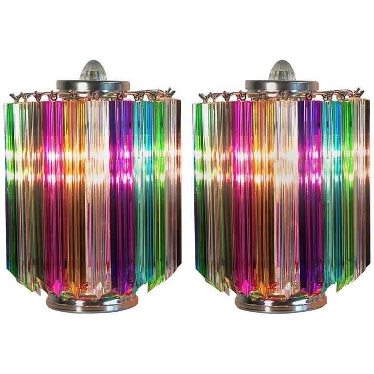Pair Multi-color Quadriedri Table Lamp, Murano, 1990s For Sale