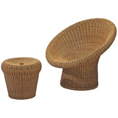 Egon Eiermann E 10 Wicker Chair with Ottoman