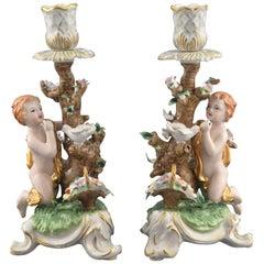 Pair of Porcelain Candleholders, after Models from Sèvres, France