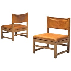 Grand Lounge Chairs with Patinated Cognac Leather