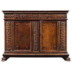 Important Renaissance Carved Walnut Credenza