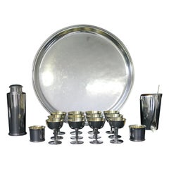 Swedish Design, Borgila, 18 Piece Cocktail-Set in Sterling Silver, 1950s