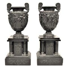 Antique Matched Set Cast Bronze and Polished Slate Pedestal Urns, Garnitures