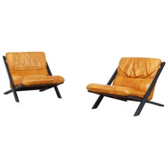Pair of Lounge Chairs for De Sede by Ueli Berger 1970s, Switzerland
