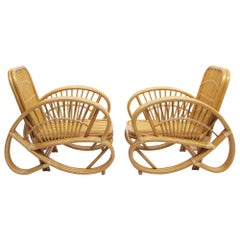 Pair of Art Deco of Rattan and Wicker Armchairs